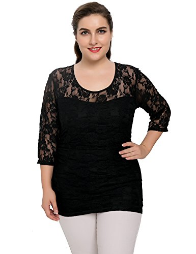 Chicwe Women's Stretch Smitten Lace Plus Size Top Black - Top Black Stretch Lace