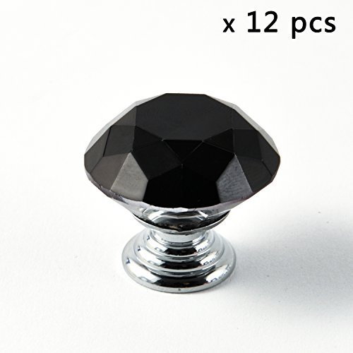 IQUALITE 12pcs Diamond Shape Crystal 30mm Glass Cabinet Draw
