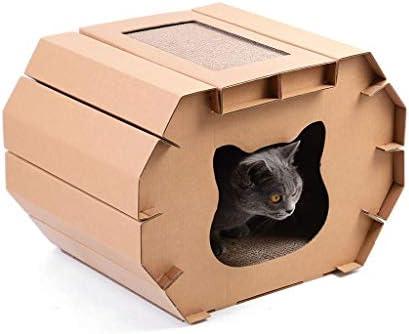 HMDJW Rascador de Casa Cartón for Gatos, Casa De Cartón Corrugado ...