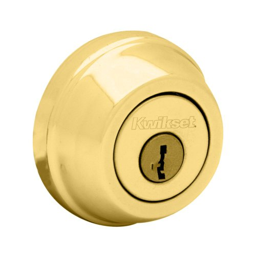 Kwikset 780 Single Cylinder Deadbolt featuring SmartKey in Polished Brass