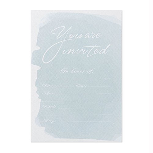 30 Fill-In Invitations with Envelopes, Blue Watercolor Wedding Invitation Cards, Simple Bridal Shower, Baby Shower, Reception, Rehearsal Dinner, Birthday Invites ()