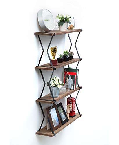 JackCubeDesign Wall Mount Modern Industrial Metal Rustic Wood Floating Hanging Shelf Display and Decor for Living Room, Bathroom, Bedroom, Kitchen, Office (3-Tier MK476A)