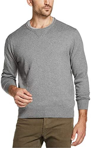 Weatherproof Vintage Men`s Merino Cashmere Crewneck Sweater (Gray Heathered Slub XXX-Large)