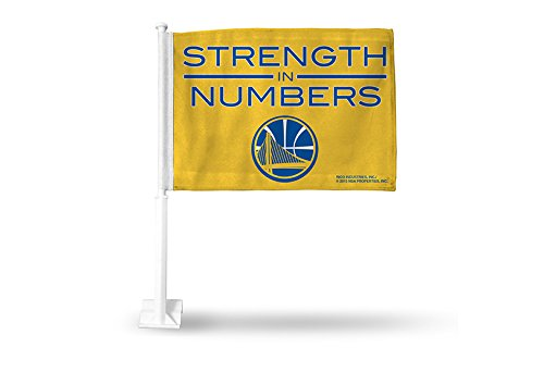Rico NBA Golden State Warriors Strength In Numbers Car Flag, Yellow, with White Pole by Rico