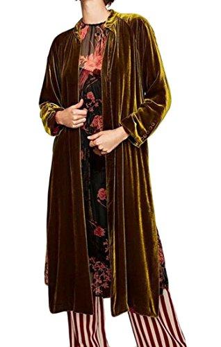 SELX Women's Belted Velvet Kimono Split Open Front Long Trench Coat One US S (Velvet Coat Belted)
