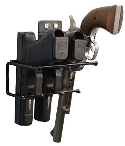 BOOMSTICK Gun Accessories 3 Gun Handgun Black Vinyl Coated Pistol Wall Mount Rack