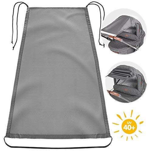 Souarts Universal Sonnensegel Sonnenverdeck f/ür Kinderwagen Babywanne Sonnenschutz mit UV Schutz Beschichtung Staubdicht Winddicht Sonnendach Schwarz Dunkelgrau 1 St/ück
