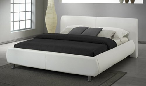 31652d95d72d Paris Faux Leather Bed In Double or King Size and Black or White Colour  (White, King): Amazon.co.uk: Kitchen & Home