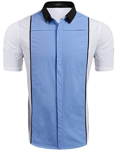 COOFANDY Mens Short-Sleeve Retro Bowling Shirts Casual Button Down Woven Shirt (Camp Silk Shirt Panel)
