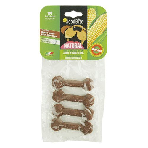 Ferplast Goodbite Natural Beef Bone Dog Chewing Toy, X-Small (Pack of 4)