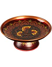 KESYOO Appetizer Plate Tinplate Buddhist Plate Lotus Flower Plate Blessing Plate Round Salad Plate Dish Tray Boawl for Fruit Dessert Nut Sause