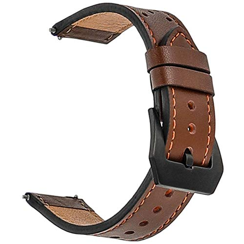(Galaxy Watch 46mm Band, Gear S3 Bands, for Samsung Gear S3 Frontier Classic 22mm Watch Band Leather, Screen Protector 1pcs, for Samsung Galaxy Watch 46mm Band Men Women Smart Watch Strap (Dark Brown))