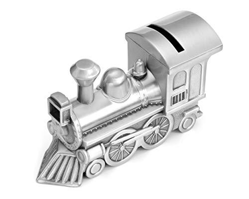 Mogoko Metal Money Bank, Cute Train Piggy Bank Silver Penny Coin Saving Box for Children