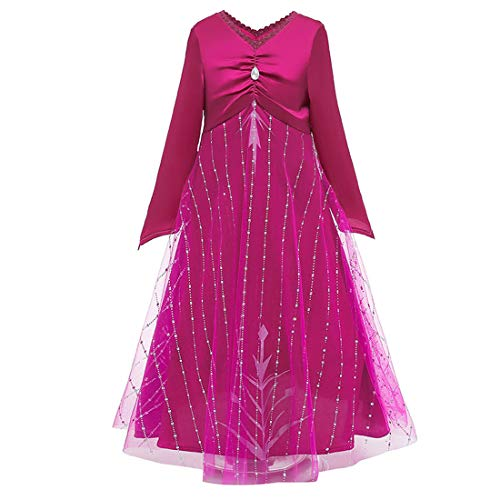 iTVTi Girls Princess Costume Halloween Cosplay Birthday Party Dress Up 3-12Years Rose Red