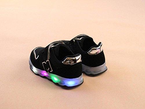 Schuhe Leuchten Sneakers Mesh Turnschuhe Baby Schuhe Mesh Jungen Atmungsaktiv und Leuchtende Mädchen Kinder Kinder JIANGFU Kleinkind LED Schwarz 8w76xqa4