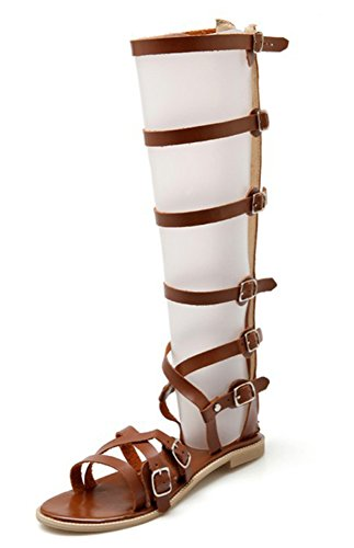 Brown Flat Boots Gladiator Sandals Buckles out Aisun Hollow Women's Stylish Long q6PnxZwvF
