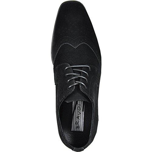 Bravo Hommes Robe King-3 Chaussures En Daim Faux Classique Oxford Avec Doublure En Cuir Noir