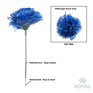 """Royal Imports 100 Silk Carnations, Artificial Fake Flower for Bouquets, Weddings, Cemetery, Crafts & Wreaths, 5"""" Stem Pick (Bulk) (Baby Blue) 4"""