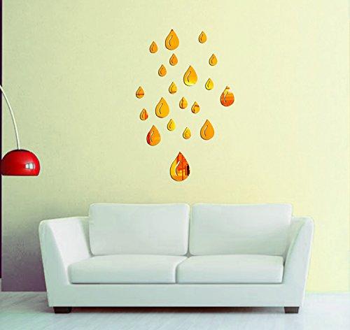 Sehaz Artworks 'Drops' Wall Decal (Acrylic, 16 cm x 14 cm x 6 cm, Gold)