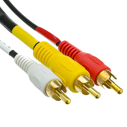 Rg59 Gold Plated - Stereo/VCR RCA Cable, 2 RCA (Audio) + RCA RG59 Video, Gold-plated Connectors, 6 foot