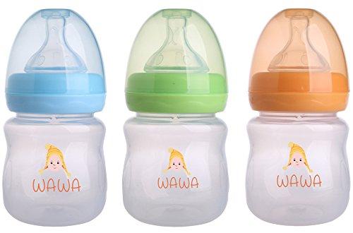 Wawa Baby Bottle – the LEAK PROOF feeding bottle with soft silicone nipple for NATURAL touch, milk flow – child safe Anti Colic infant nursing, BPA FREE - 3 Bottles Bundle Pack, 4 oz