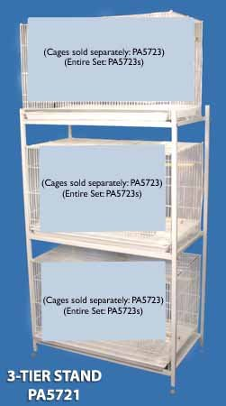 Bali Bungalow Stand Stacking Bird Cage Stand - White - Three Tier (on casters) by BirdCages4Less