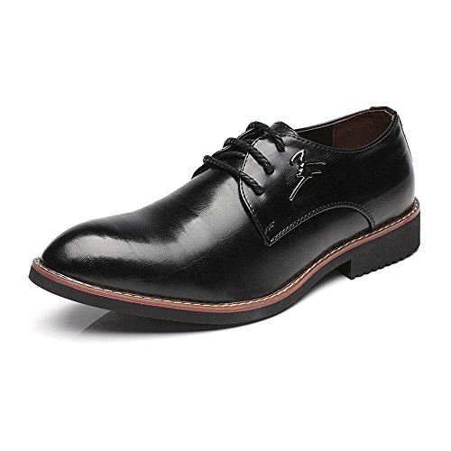 Fang-shoes, 2018 Primavera/Estate, Scarpe da lavoro formali da uomo Matte PU Leather Upper Lace Up Oxfords traspirante con punta a punta (Color : Vino, Dimensione : 40 EU) Nero