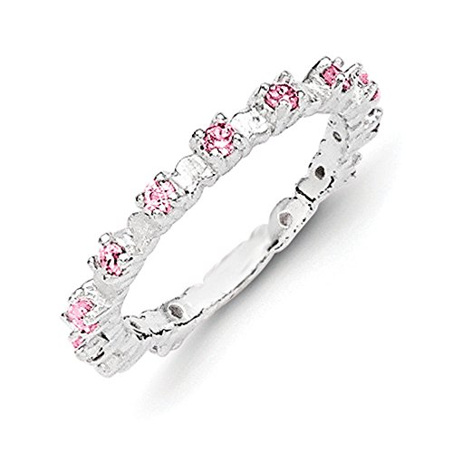 Sterling Silver Pink and White Cubic Zirconia Kids Ring Size 4