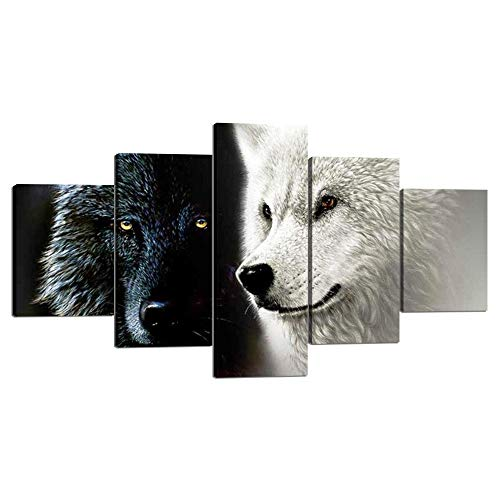 Modern Canvas Painting Wall Art 5 Piece White and Black Wolves Animal Prints on Canvas Giclee Artwork Stretched with Wooden Frame Ready to Hang for Home and Office Decoration - 60''W x 32''H (Black And White Panel Wall Art)