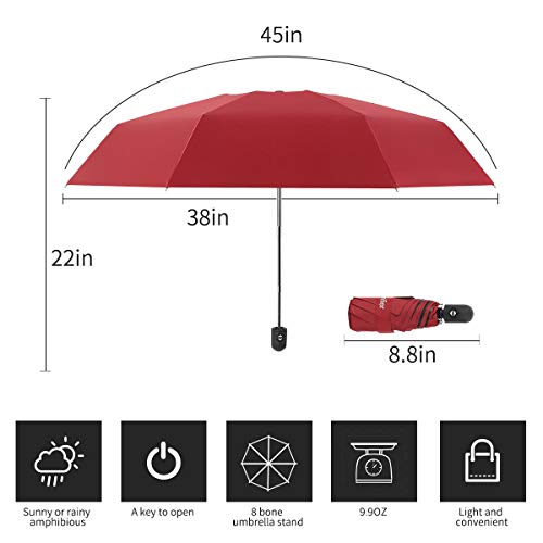 bf370b9532d2 Automatic Travel Umbrella Compact Mini Umbrella Windproof Folding Rain  Umbrella Auto Open/Close Lightweight Small Umbrellas for Women Men  Kids(Wine ...