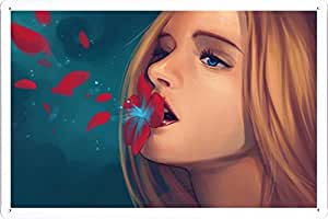 Abstract Sign - Girl Flower Petals Lips Blue Eyes Blonde 19489 Metal Tin Poster