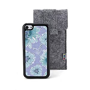 CaseCityLiu - Flowers/Purple Cartoon Sweet Pattern Design Black Bumper Plastic+TPU Case Cover for Apple iPhone 5C Come With FREE Non Woven Packing Bag