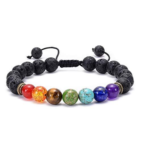 DUOJINZ 7 Chakra Bracelet Men Wome Lava Rock Aromatherapy Essential Oil Diffuser Bracelet Braided Natural Stone Yoga Beads Bracelets