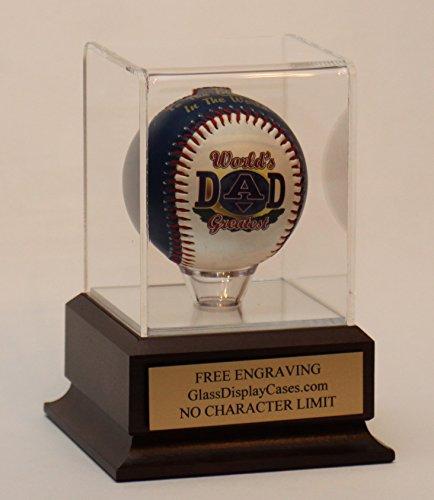Baseball Acrylic Display Case Cherry Finish Base