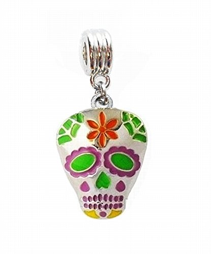SUGAR SKULL SKELETON MARDI GRAS FAT TUESDAY CHARM PENDANT FOR NECKLACE EUROPEAN CHARM BRACELET (Fits Most Name Brands) DIY ETC (Enamel Mardis Gras Charm)