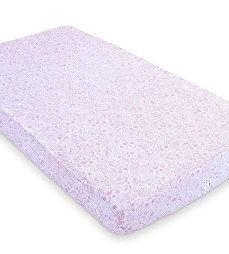 Burt's Bees Baby - Fitted Crib Sheet, Girls & Unisex 100% Organic Cotton Crib Sheet for Standard Crib and Toddler Mattresses (Pink Paisley) (Sheet Crib Paisley)