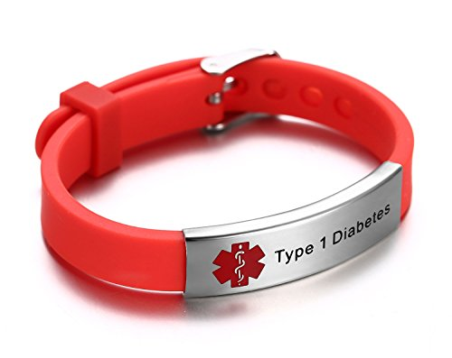 Type 1 Diabetes Medical Alert ID Bracelet for Kids Adult With Silicone Wristband -8 Size...