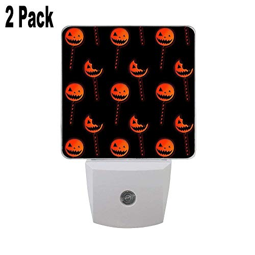 Trick 'r Treat Lollipop Pattern 2 Pack Plug in LED Night Lights Dusk to Dawn Sensor Night Lamp Artistic Pineapple Kids Adults and Nursery Decor Night Light