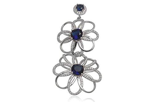 EYS JEWELRY® pendentif Femme fleurs 69 x 32 mm Oxyde de Zirconium Argent 925/1000 Rhodium bleu avec étui de cadeau pendentif dames