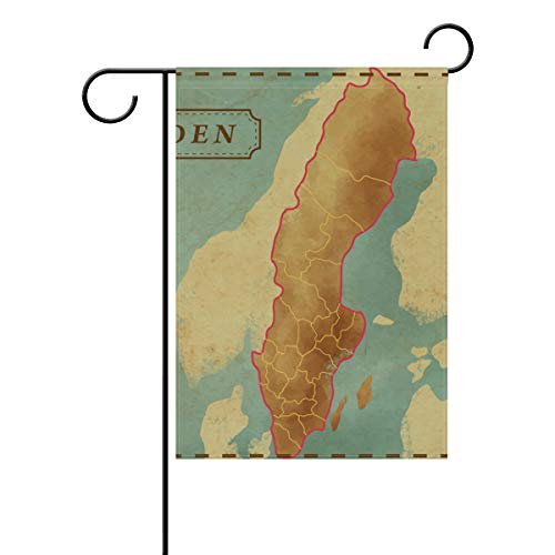 imobaby Sweden Map Decorative Double Sided Garden Flag Welcome Flag 28 x 40 inch