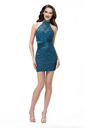 Sisjuly Women's Sheath Halter Beadings Lace Mini Formal for sale  Delivered anywhere in USA