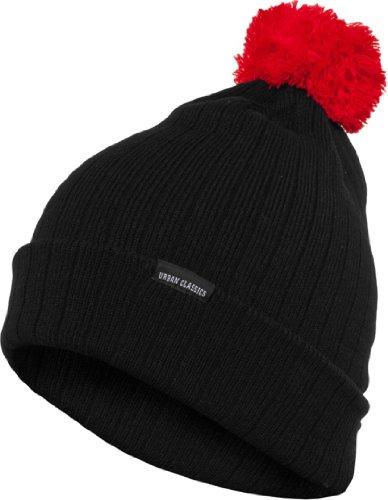 Urban Classics contrast Bobble Beanie gorro de invierno nedón negro y rojo