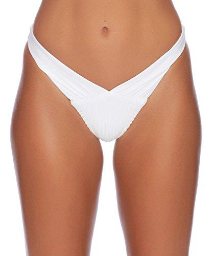 omen's Fresh and Spicy Throwback V Thong Bikini Bottom, White, 8 (Ladies Throw)