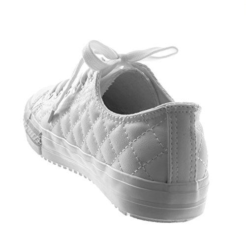 Tacco Bianco Scarpe 1 cm Tennis Piatto 5 Moda Donna Sneaker Tacco Angkorly Trapuntata xUqfOw0OC