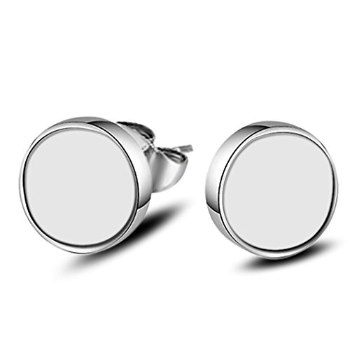 Classic Sterling Silver Round White Stoneware Charm Stud Earring Jewelry for Female ()