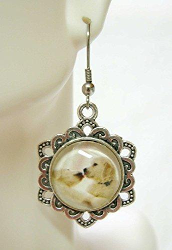 (Yellow lab puppies earrings - DAP03-001)