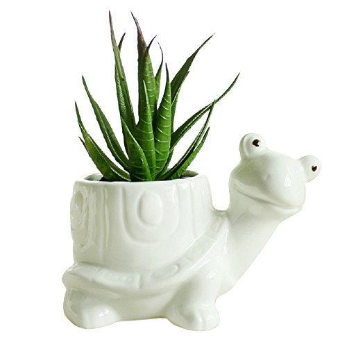 GeLive Tortoise Succulent Planter Turtle Plant Pot Animal Fun Vase Window Box Cute Home ()