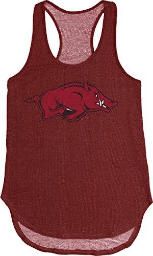 Blue 84 NCAA Arkansas Razorbacks Women's Tri Blend Panel Tank, Large, Cardinal (Classic T-shirt Razorbacks Arkansas)