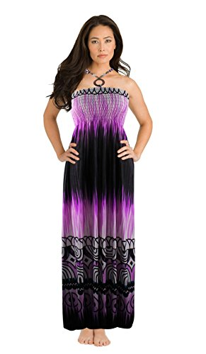 - Peach Couture Exotic Tie Dye Self Tie Halter Vacation Maxi Dress Violet XL