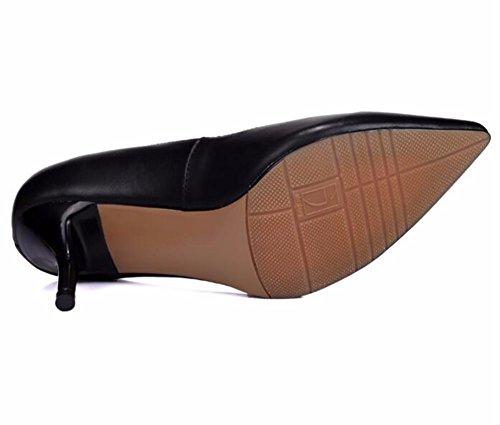 HXVU56546 La Nueva Punta Del Alto Talón Zapatos Bien Con La Primavera Y El Otoño, Los Pequeños Zapatos De Mujer Zapatos De Trabajo Solo Zapatos Boca Superficial black
